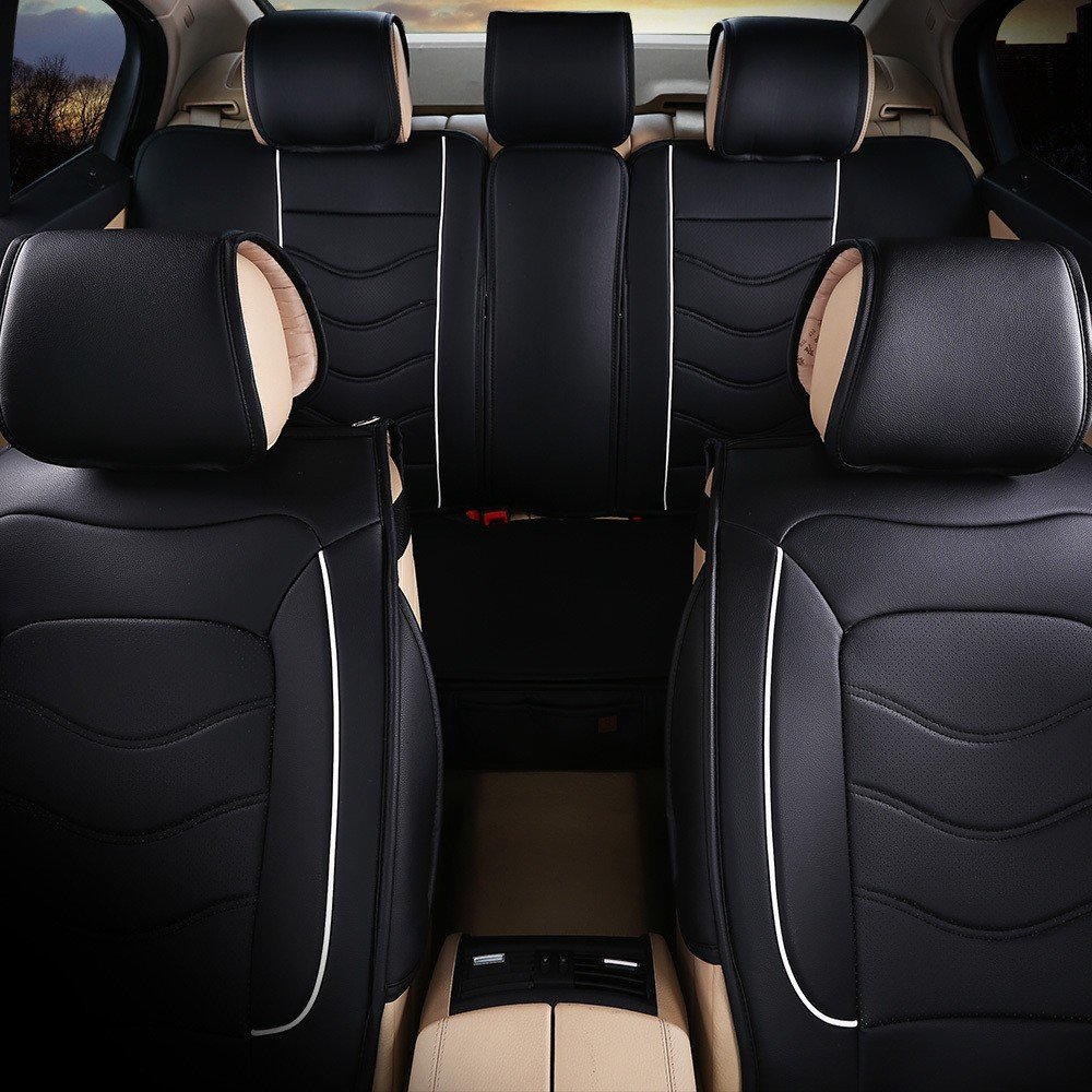 Leather Look Car Seat Covers Beige